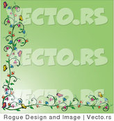 Vector of Flowering Vines and Butterfly Border over Green by Pams Clipart