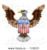 Vector of Flying American Bald Eagle with a USA Flag Shield by AtStockIllustration