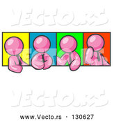 Vector of Four Pink Men in Different Poses Against Colorful Backgrounds, Perhaps During a Meeting by Leo Blanchette