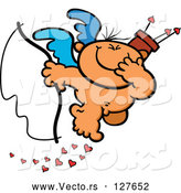 Vector of Giggling Nude Cupid Holding a Bow and Covering His Mouth While Dropping Hearts by Zooco