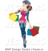 Vector of Girl Drinking Beverage While Carrying Shopping Bags by BNP Design Studio