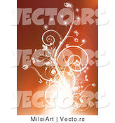 Vector of Glowing Flourish Vines on Orange Background by MilsiArt