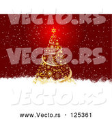 Vector of Gold Christmas Tree in the Snow by KJ Pargeter