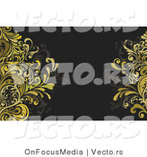 Vector of Gold Vines Agains Dark Green Background - Border Design Element by OnFocusMedia