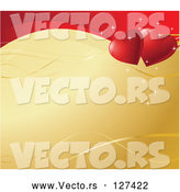 Vector of Golden Background with Ribbons, Sparkles and a Wave of Red with Two Hearts by Pushkin