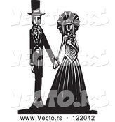 Vector of Gothic Wedding Couple Holding Hands Black and White Woodcut 1 by Xunantunich