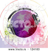 Vector of Gradient Disco Ball with Headphones Sound Signals Grunge and Equalizer Bars by Elaineitalia