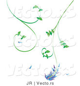 Vector of Green Tendriled Vines with Purple and Blue Flowers by JR