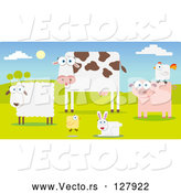 Vector of Group of Farm Animals in a Pasture; Sheep, Cow, Chicken, Rabbit, Pig and Rooster by Qiun