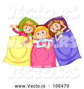 Vector of Group of Girl in Pjs, Talking at a Slumber Party by Graphics RF