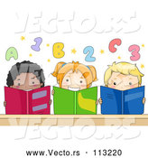 Vector of Group of Happy KChildren Reading Books Under Numbers and Alphabet Letters by BNP Design Studio