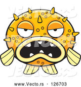 Vector of Grumpy Orange Blowfish Facing Front by Cory Thoman