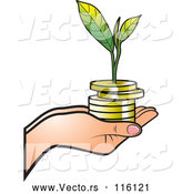 Vector of Hand Holding a Stack of Gold Coins and a Seedling by Lal Perera