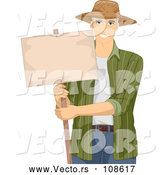 Vector of Handsome White Male Senior Farmer Holding a Blank Sign by BNP Design Studio