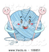 Vector of Happy Ball of Yarn Character Holding Hooks by BNP Design Studio