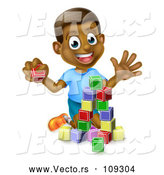 Vector of Happy Black Boy Waving and Playing with Toy Blocks by AtStockIllustration