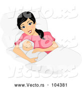 Vector of Happy Black Haired New Mom Laying with Her Newborn Baby by BNP Design Studio