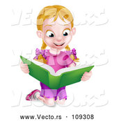 Vector of Happy Blond White School Girl Kneeling and Reading a Book by AtStockIllustration