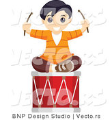 Vector of Happy Boy Sitting on a Musical Drum by BNP Design Studio