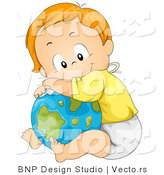 Vector of Happy Cartoon Baby Boy Resting Against a Globe by BNP Design Studio