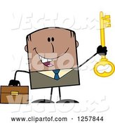 Vector of Happy Cartoon Black Business Man Holding up a Key to Success by Hit Toon