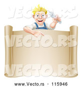 Vector of Happy Cartoon Blond Mechanic Guy Holding a Wrench over a Scroll Sign by AtStockIllustration