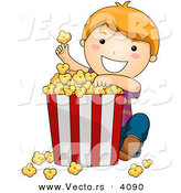 Vector of Happy Cartoon Boy Eating Popcorn from Big Bucket by BNP Design Studio