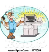 Vector of Happy Cartoon Cow Holding a Steel Brush and Presenting a Bbq Grill in an Oval by LaffToon