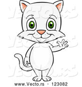 Vector of Happy Cartoon Cute White Cat Standing and Waving by Cartoon Solutions