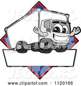 Vector of Happy Cartoon Delivery Big Rig Truck Mascot Sign or Logo with a Blue Diamond by Toons4Biz