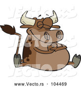 Vector of Happy Cartoon Fat Brown Cow Sitting by Toonaday