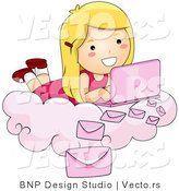 Vector of Happy Cartoon Girl Laying on a Cloud While Sending Email with Pink Laptop Computer by BNP Design Studio
