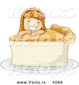 Vector of Happy Cartoon Girl Leaning on Big Slice of Pie by BNP Design Studio