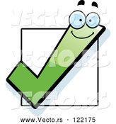 Vector of Happy Cartoon Green Check Mark over a Box by Cory Thoman