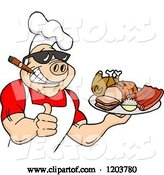 Vector of Happy Cartoon Muscular Chef Pig Wearing a Hat and Sunglasses, Smoking a Cigar, Holding a Thumb up and a Plate of Bbq Meats by LaffToon