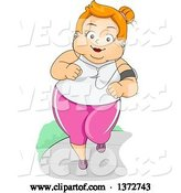 Vector of Happy Cartoon Red Haired White Chubby Lady Jogging and Listening to Music by BNP Design Studio