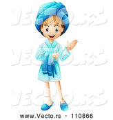 Vector of Happy Cartoon White Girl in a Blue Rope, Presenting by Graphics RF