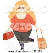 Vector of Happy Chubby Lady Traveler by BNP Design Studio