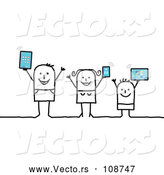 Vector of Happy Connected Stick Family Holding up Tablet Computers and a Smart Phone by NL Shop