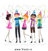 Vector of Happy Diverse Teens at a Birthday Party by BNP Design Studio