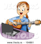 Vector of Happy Girl Playing Guitar Lessons from Online Computer Tutorial by BNP Design Studio