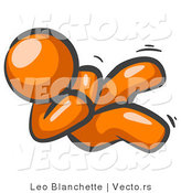 Vector of Happy Orange Guy Rolling on the Floor and Giggling with Laughter by Leo Blanchette