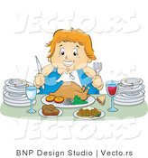 Vector of Happy Overweight Girl Feasting on a Turkey Meal, with Plates at Her Sides by BNP Design Studio