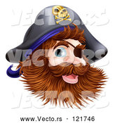 Vector of Happy Pirate Captain with an Eye Patch and Beard by AtStockIllustration