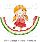 Vector of Happy Red Hair Girl Eating Giant Watermelon Slice by BNP Design Studio