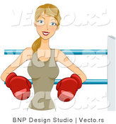 Vector of Happy Woman Wearing Boxing Gloves While Leaning Against Ropes in the Ring by BNP Design Studio