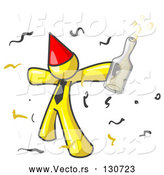 Vector of Happy Yellow Guy Partying with a Party Hat, Confetti and a Bottle of Liquor by Leo Blanchette