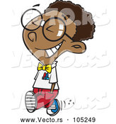 Vector of Happy Young Black Nerd Boy Walking by Toonaday