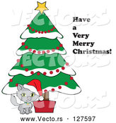 Vector of Have a Very Merry Christmas Greeting by a Kitten Under a Christmas Tree by Pams Clipart