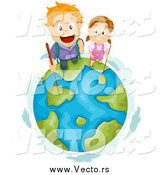 Vector of Hiking Red Haired White Kids on Top of Earth by BNP Design Studio